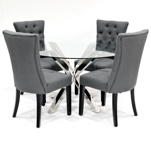 Crossly clear glass dining set with grey Sanderson dining chairs