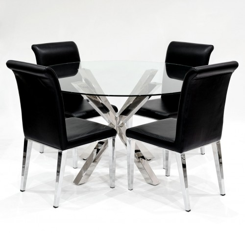 Crossly clear glass dining set with black Kirkland dining chairs