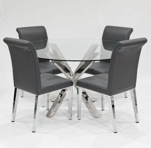 Crossly clear glass dining set with dark grey Kirkland dining chairs