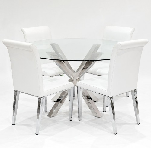 Crossly Clear Glass Dining Set With White Kirkland Dining Chairs ...
