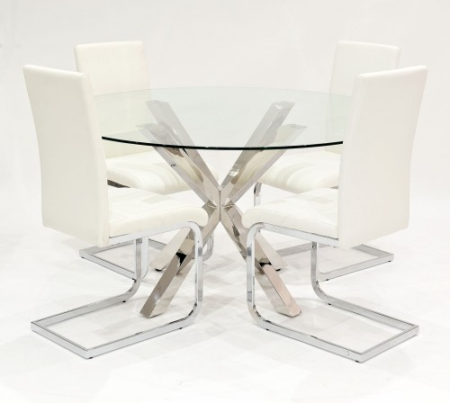 Crossly clear glass dining set with cream Brescia dining chairs