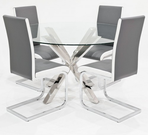 Crossly clear glass dining set with grey Brescia dining chairs