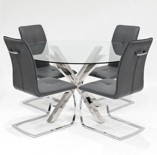 Crossly clear glass dining set with grey Belmont dining chairs