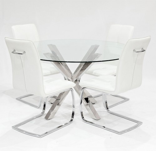 Crossly clear glass dining set with white Belmont dining chairs