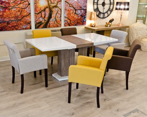 High Gloss White Extending Dining Table in our Showroom