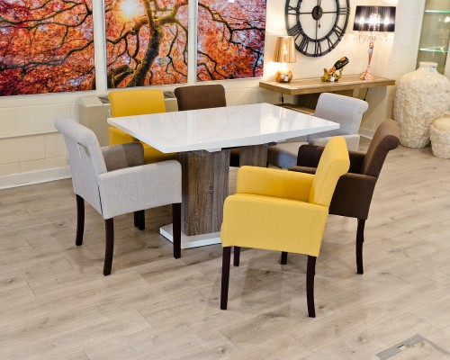 High Gloss White Extending Dining Table in our Showroom - Closed