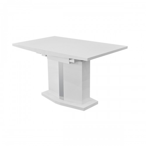 High Gloss White Extending Dining Table - Closed