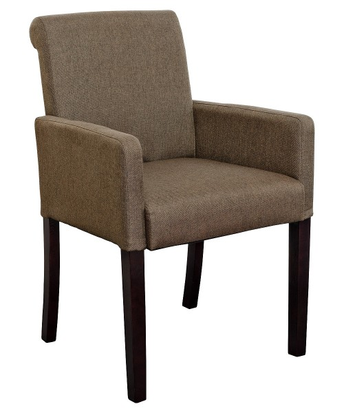 Sadie Linen Tub Chair in Brown Fabric