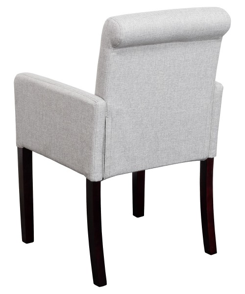 Sadie Linen Tub Chair in Grey Fabric - Back View