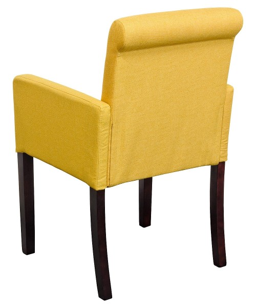 Sadie Linen Tub Chair in Mustard Yellow Fabric - Back View