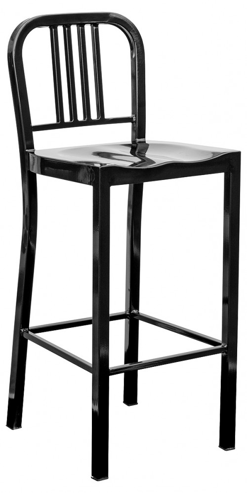 Navy Metal Bar Stool - Black