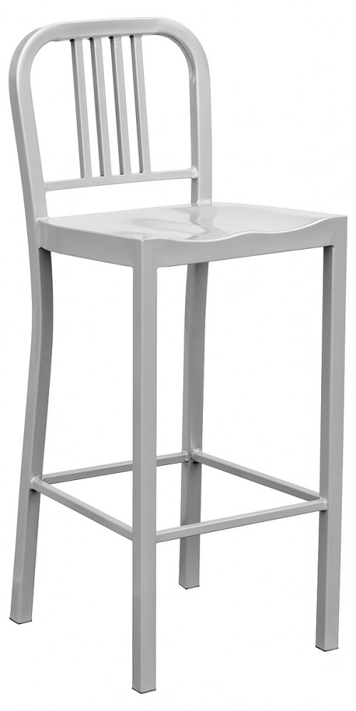 Navy Metal Bar Stool - Silver