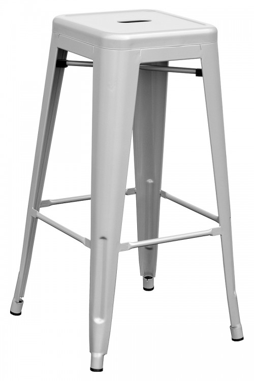 Tolix Replica Metal Bar Stool in Silver
