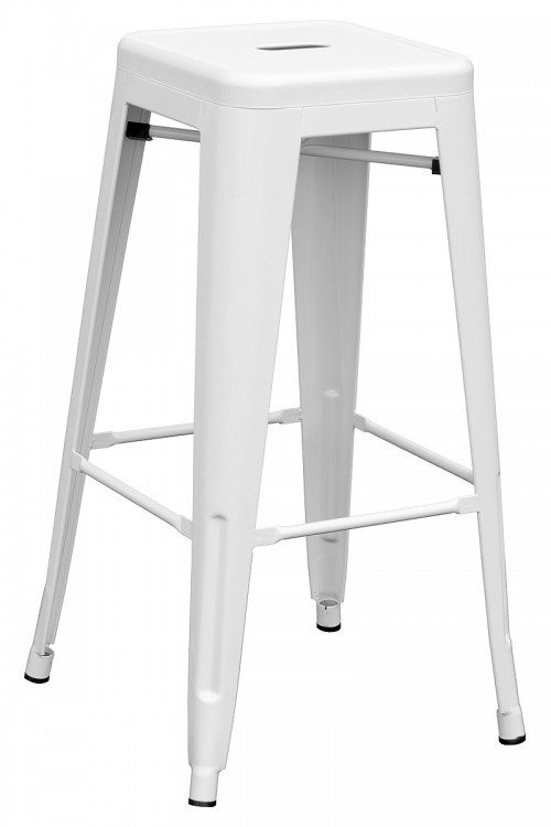 Tolix Replica Metal Bar Stool in White