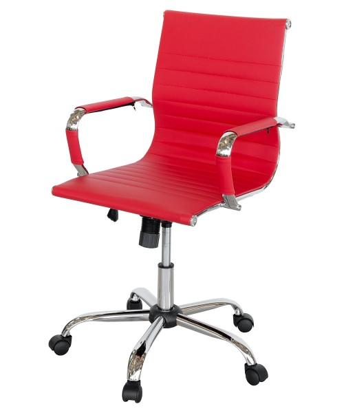 Ribbed Office Chair - Red