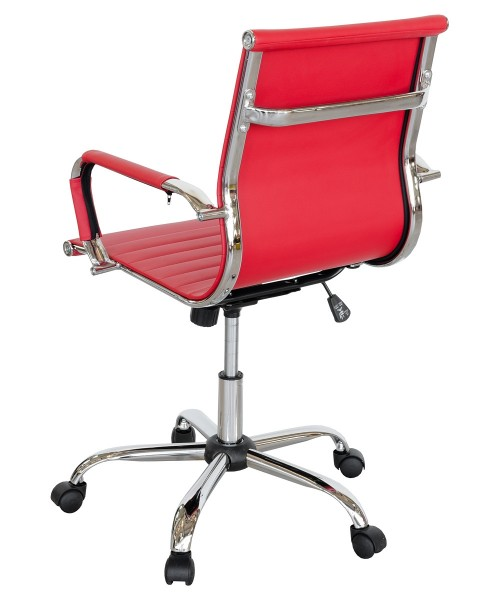 Ribbed Office Chair - Red - Back