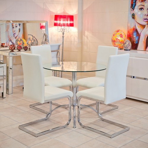 Brescia Sprung Steel Dining Chair in White
