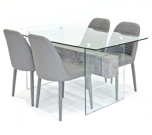 Glasstone dining set with grey Riversway dining chairs