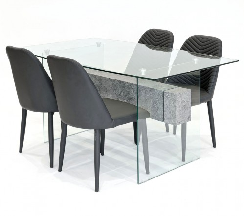 Glasstone dining set with black Riversway dining chairs
