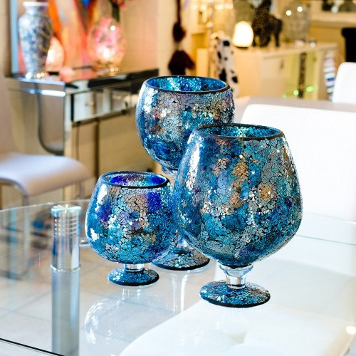 Blue Mosaic Glass Hurricane Small Vase in our showroom