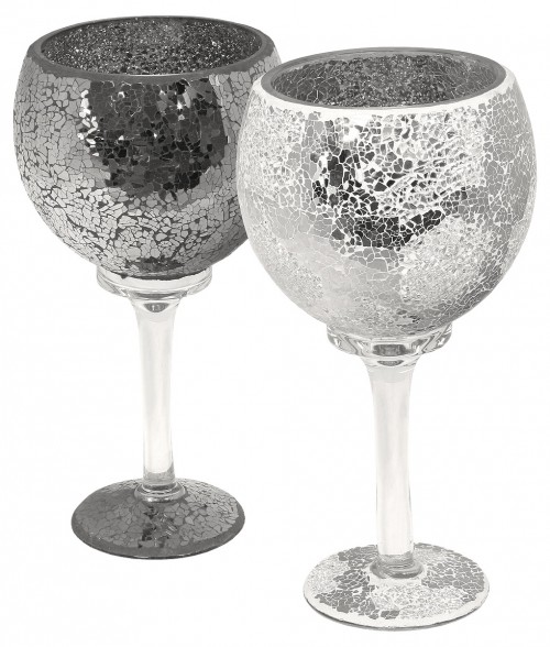 Mosaic Glass Goblet in Black or Mirrored