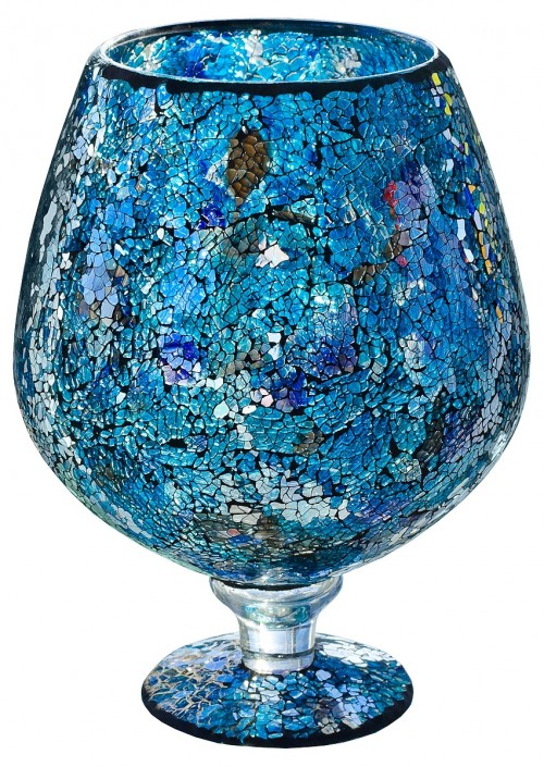 Blue Mosaic Glass Hurricane Large Vase