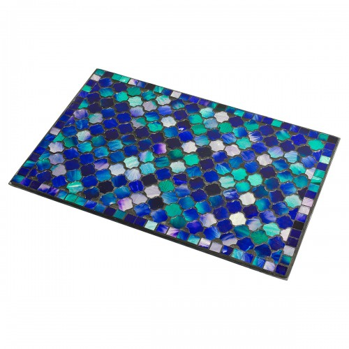 Mosaic Glass Place Mat - Blue Design