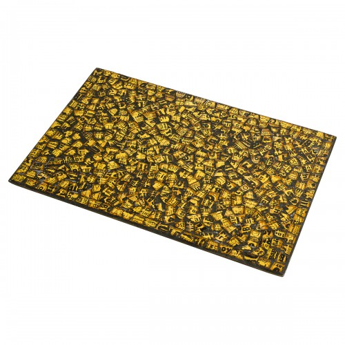 Mosaic Glass Place Mat - Gold Design