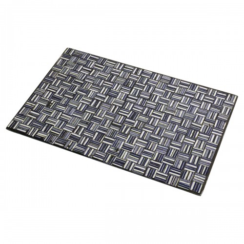 Mosaic Glass Place Mat - Silver & Black