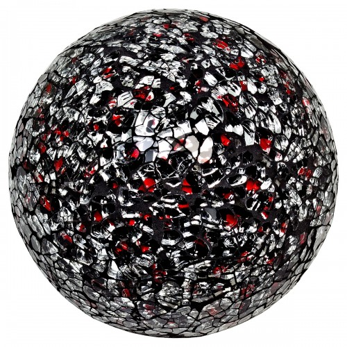 Mosaic Glass Ball - Silver & Red - Large