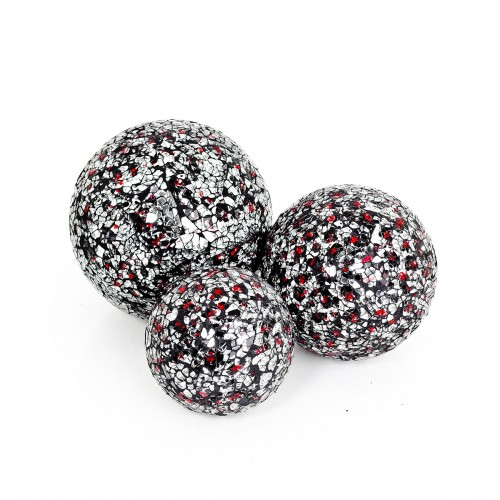 Mosaic Glass Ball - Silver & Red