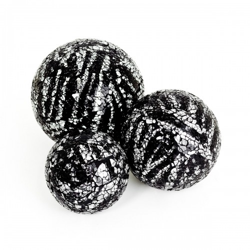 Mosaic Glass Ball - Silver & Black