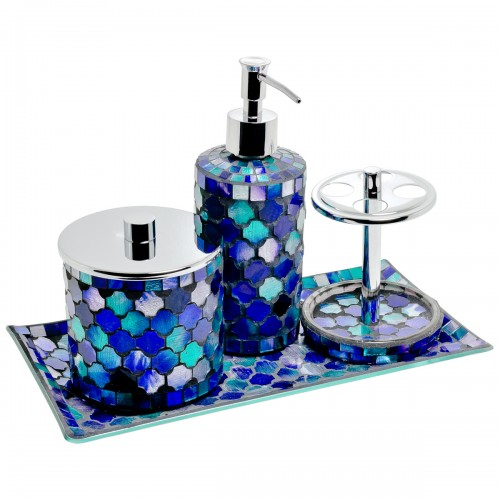 Mosaic glass bathroom set of four for Blue mosaic bathroom accessories