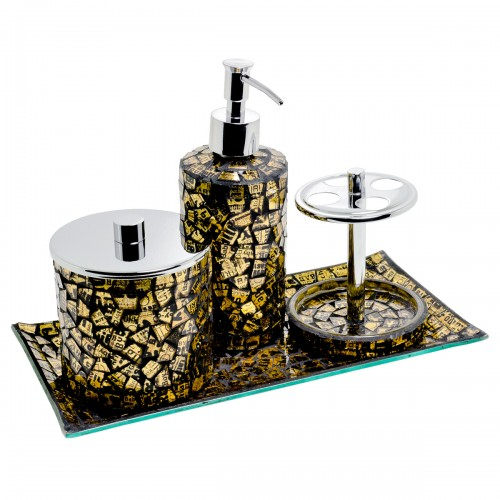 Mosaic Bathroom Set of Four - Gold Design