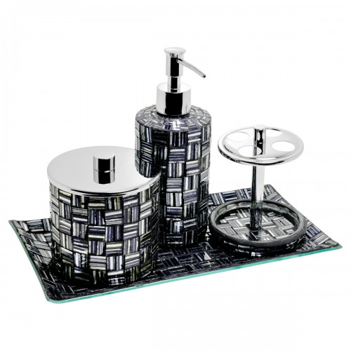 Mosaic Bathroom Set of Four - Silver & Black