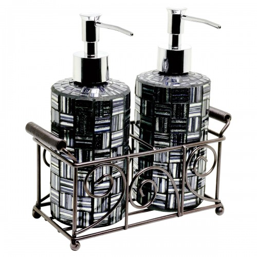 Mosaic Glass Soap Dispensers - Black & Silver