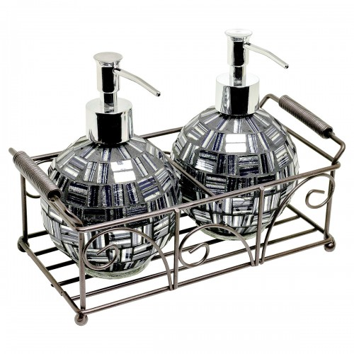 Mosaic Glass Round Soap Dispensers - Black / Silver Design