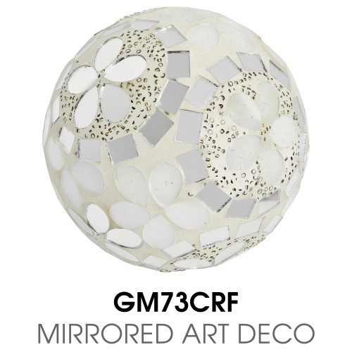 Medium Mosaic Polyform Ball - Mirrored Art Deco