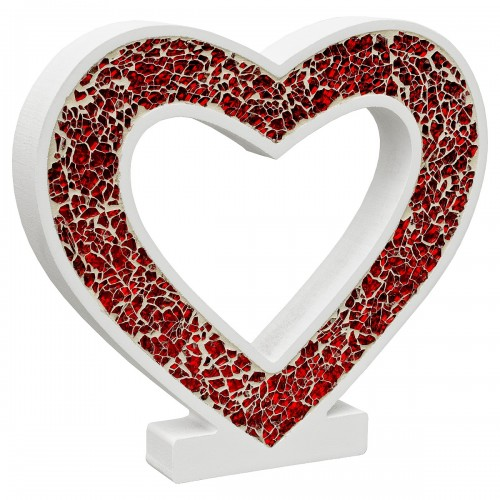 Mosaic Glass Standing Heart Decoration - Red