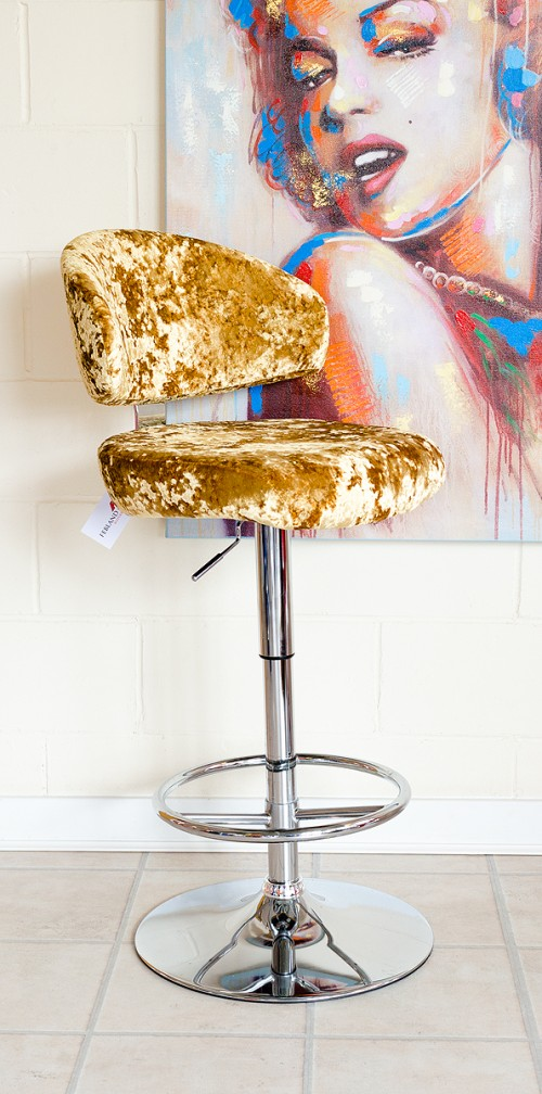 Casino Bar Stool in Lustro Gold Fabric