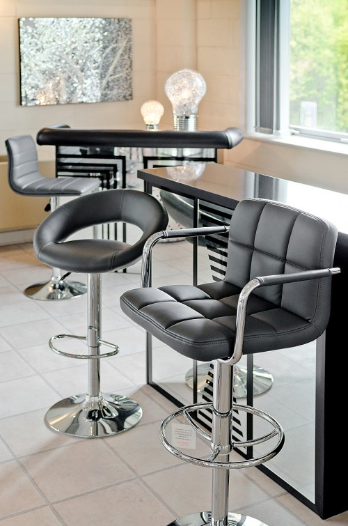 Feblands grey barstool range on display in our showroom
