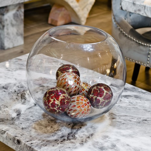 Glass Display Bowl with Mosaic Balls as seen in our showroom
