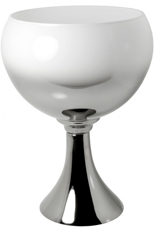 Large White & Silver Goblet