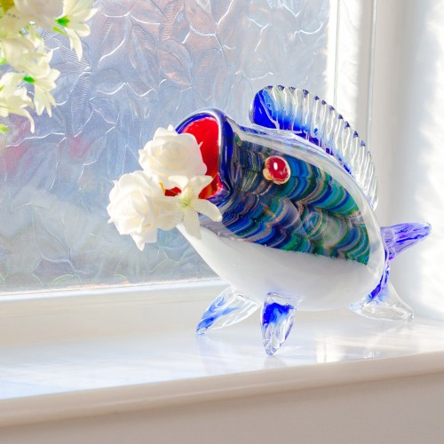 Glass big mouth blue fish in our showroom