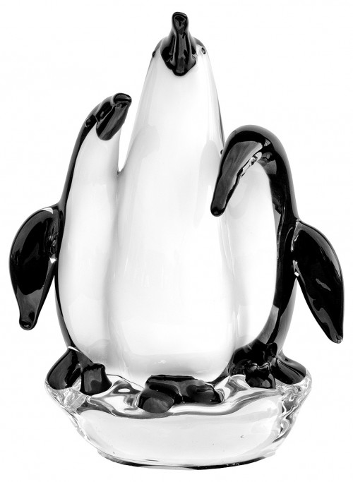 Glass Group of Three Penguins