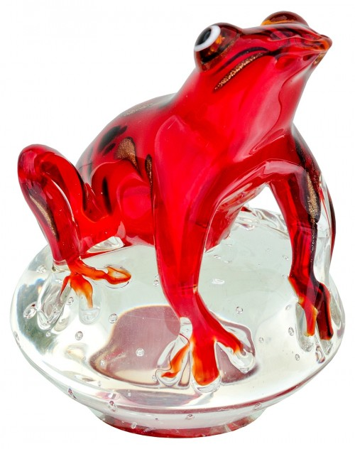 Glass Red Jungle Frog Paperweight