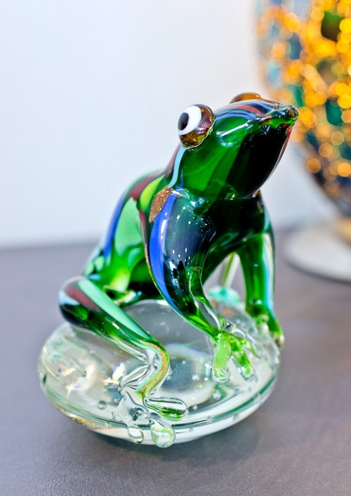 Glass Green Jungle Frog Ornament as seen in our showroom