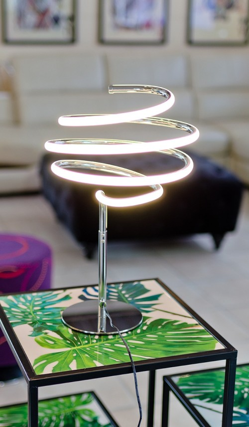 LED Spiral Silver Table Lamp in our Showroom