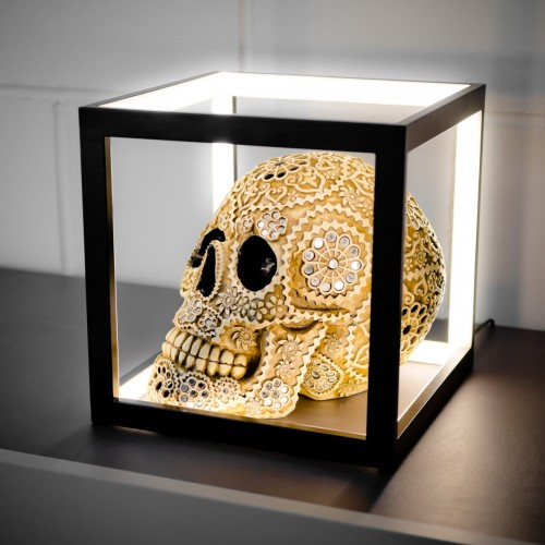 LED Black Box Table Lamp in our Showroom with our Day of the Dead Style Skull