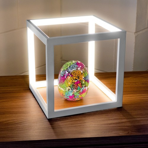 LED White Box Table Lamp in our Showroom with Egg